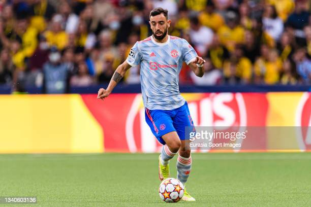 Bruno Fernandes of Manchester United in action during the UEFA Champions League group F match between BSC Young Boys and Manchester United at Stadion...