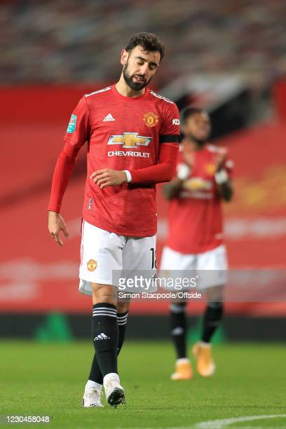 Bruno Fernandes of Manchester United looks dejected during the Carabao Cup Semi Final match between Manchester United and Manchester City at Old...