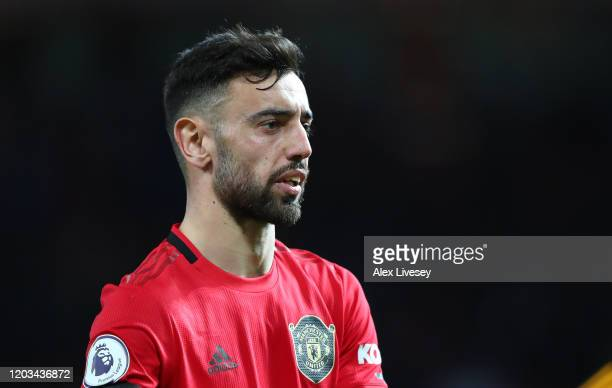 Bruno Fernandes of Manchester United looks on during the Premier League match between Manchester United and Wolverhampton Wanderers at Old Trafford...