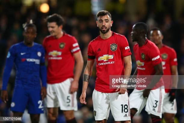 Bruno Fernandes of Manchester United looks on during the Premier League match between Chelsea FC and Manchester United at Stamford Bridge on February...