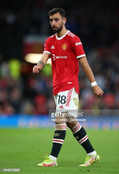 Bruno Fernandes of Manchester United looks on during the Premier League match between Manchester United and Liverpool at Old Trafford on October 24,...