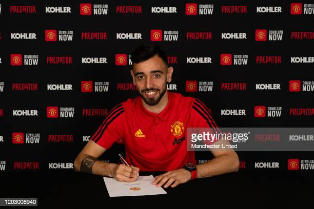 Bruno Fernandes of Manchester United poses after signing for the club at Aon Training Complex on January 30, 2020 in Manchester, England.