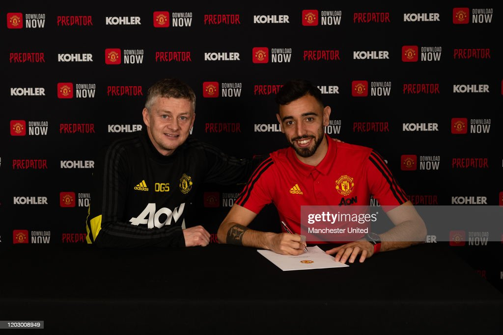 Manchester United Unveil New Signing Bruno Fernandes : News Photo