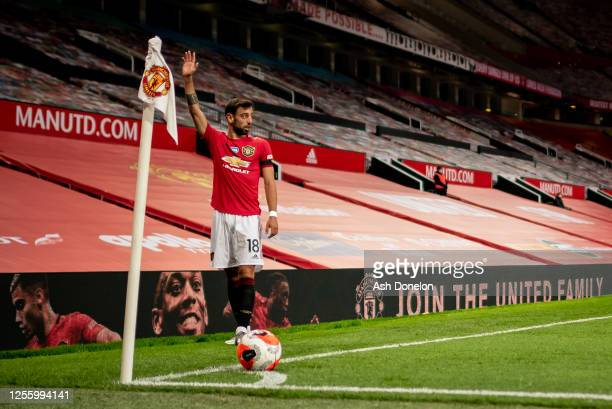 Bruno Fernandes of Manchester United prepares to take a corner during the Premier League match between Manchester United and Southampton FC at Old...