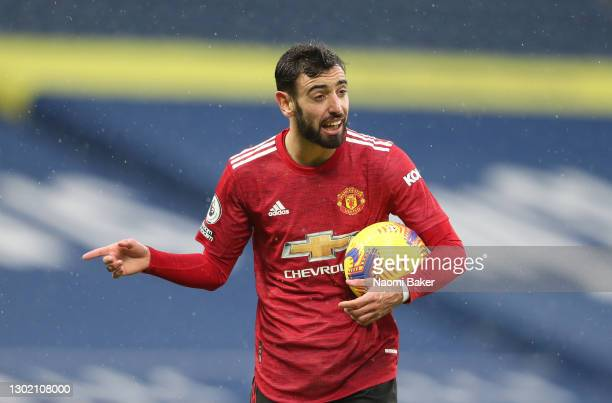 Bruno Fernandes of Manchester United reacts after a no penalty decision during the Premier League match between West Bromwich Albion and Manchester...