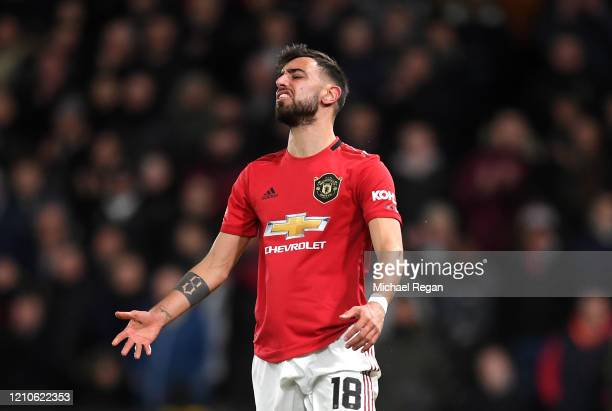 Bruno Fernandes of Manchester United reacts during the FA Cup Fifth Round match between Derby County and Manchester United at Pride Park on March 05,...