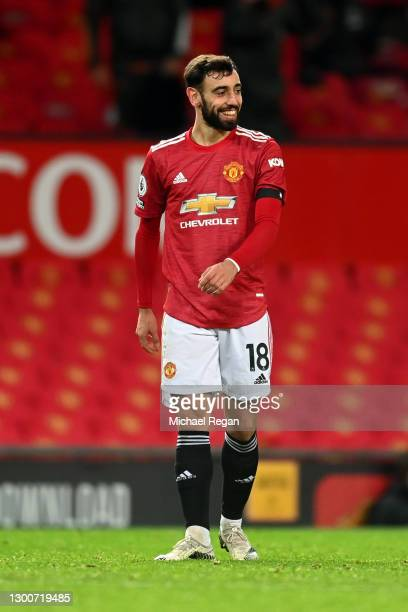 Bruno Fernandes of Manchester United reacts during the Premier League match between Manchester United and Everton at Old Trafford on February 06,...