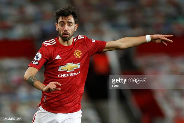 Bruno Fernandes of Manchester United reacts during the Premier League match between Manchester United and Newcastle United at Old Trafford on...