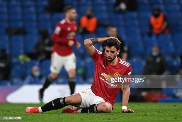 Bruno Fernandes of Manchester United reacts during the Premier League match between Chelsea and Manchester United at Stamford Bridge on February 28,...
