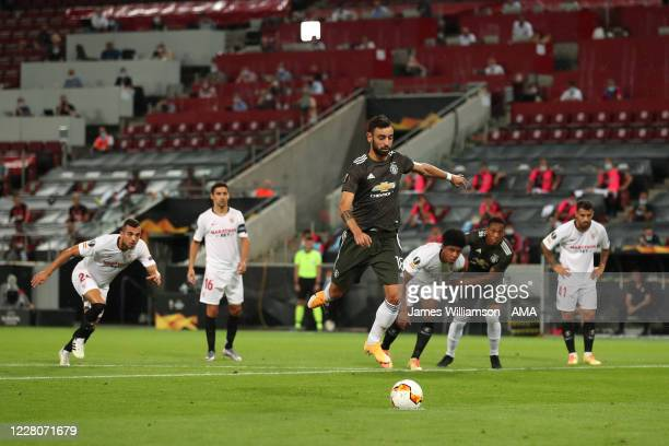 Bruno Fernandes of Manchester United scores a goal to make it 01 during the UEFA Europa League Semi Final between Sevilla and Manchester United at...