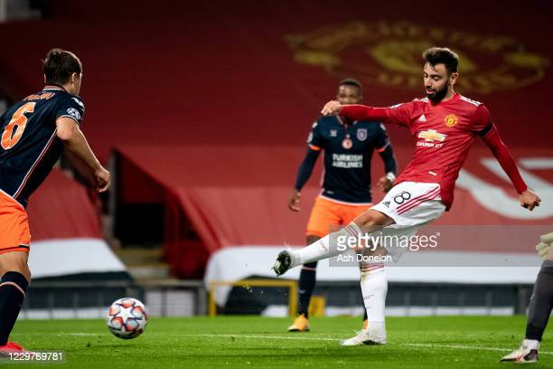 Bruno Fernandes of Manchester United scores a goal to make the score 2-0 during the UEFA Champions League Group H stage match between Manchester...
