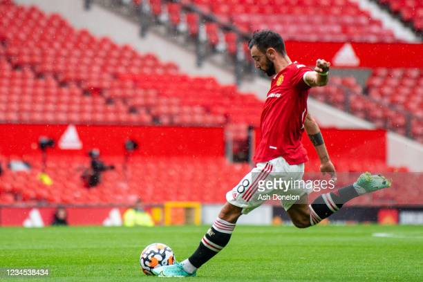 Bruno Fernandes of Manchester United scores a goal to make the score 3-0 during the pre-season friendly match between Manchester United and Everton...