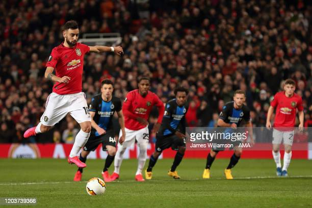 Bruno Fernandes of Manchester United scores a penalty to make it 1-0 during the UEFA Europa League round of 32 second leg match between Manchester...