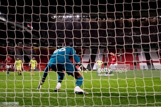 Bruno Fernandes of Manchester United scores a penalty to make the score 3-1 during the Premier League match between Manchester United and Newcastle...