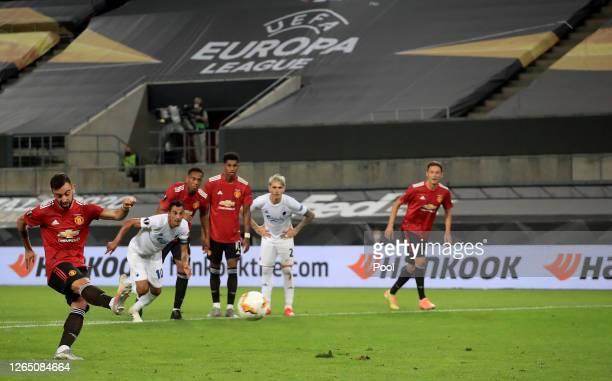 Bruno Fernandes of Manchester United scores his sides first goal from the penalty spot during the UEFA Europa League Quarter Final between Manchester...