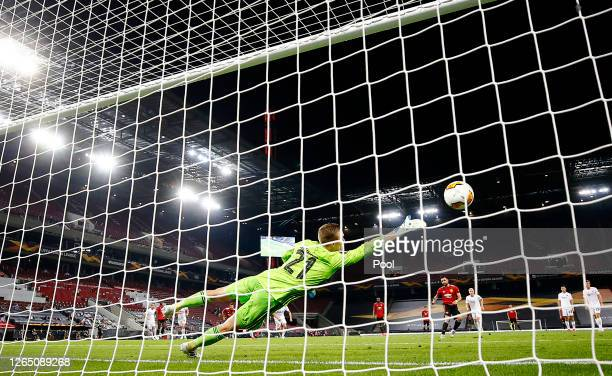 Bruno Fernandes of Manchester United scores his sides first goal during the UEFA Europa League Quarter Final between Manchester United and FC...