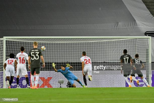 Bruno Fernandes of Manchester United scores his team's first goal from the penalty spot during the UEFA Europa League Semi Final between Sevilla and...