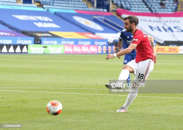 Bruno Fernandes of Manchester United scores their first goal during the Premier League match between Leicester City and Manchester United at The King...