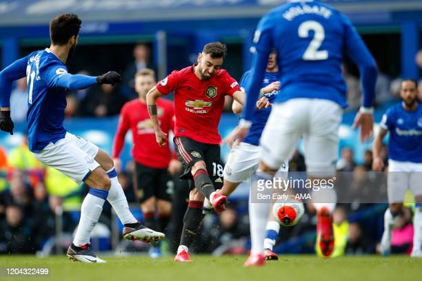 Bruno Fernandes of Manchester United Shoots and scores a goal to make it 11 during the Premier League match between Everton FC and Manchester United...