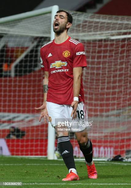 Bruno Fernandes of Manchester United shows his frustration during the Premier League match between Manchester United and Newcastle United at Old...