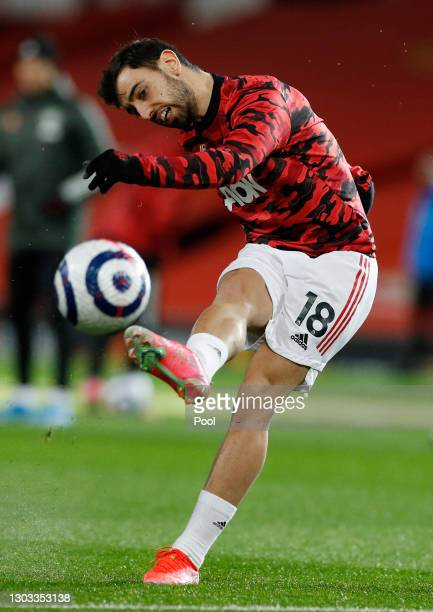 Bruno Fernandes of Manchester United warms up prior to the Premier League match between Manchester United and Newcastle United at Old Trafford on...