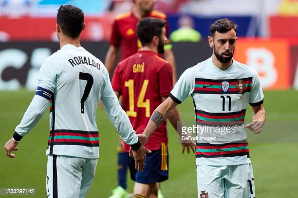Bruno Fernandes of Portugal and Cristiano Ronaldo of Portugal gestures during the international friendly match between Spain and Portugal at Estadio...