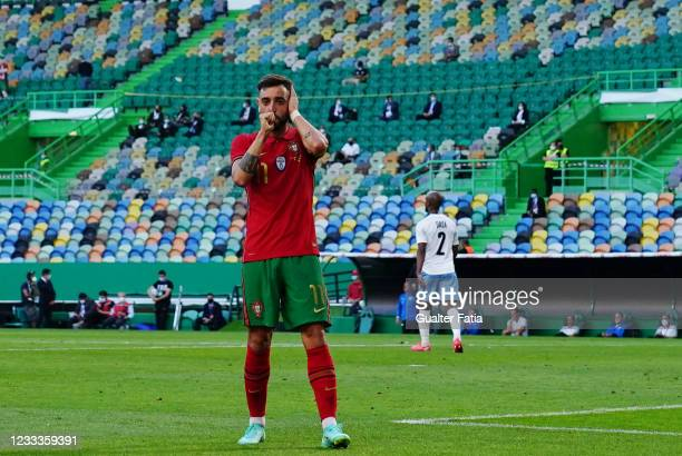 Bruno Fernandes of Portugal and Manchester United celebrates after scoring a goal during the International Friendly match between Portugal and Israel...