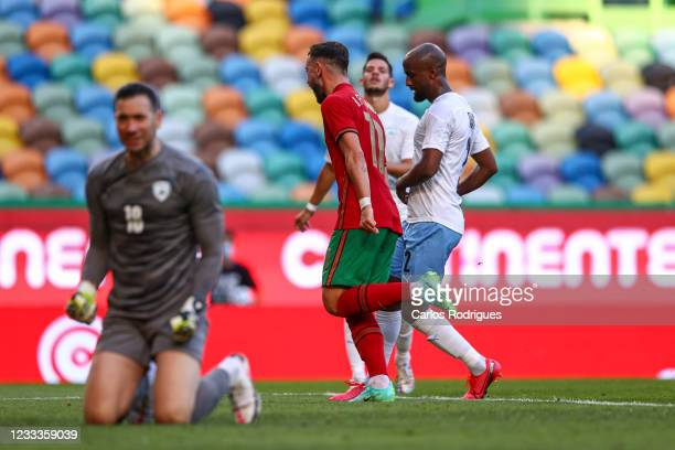 Bruno Fernandes of Portugal and Manchester United celebrates scoring Portugal first goal during the international friendly match between Portugal and...