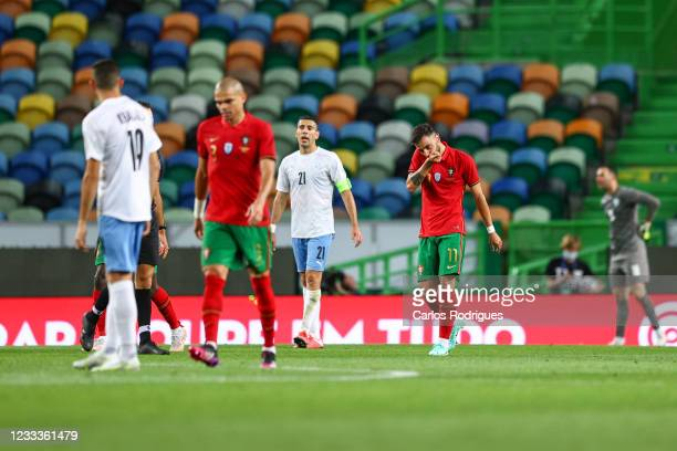 Bruno Fernandes of Portugal and Manchester United celebrates scoring Portugal fourth goal and his second on the match during the international...