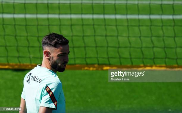 Bruno Fernandes of Portugal and Manchester United during the Portugal Training Session at Cidade do Futebol FPF on June 8, 2021 in Oeiras, Portugal.