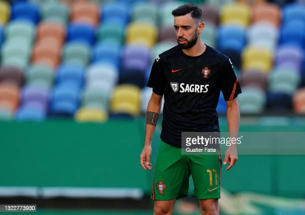 Bruno Fernandes of Portugal and Manchester United during warm up before the start of the International Friendly match between Portugal and Israel at...