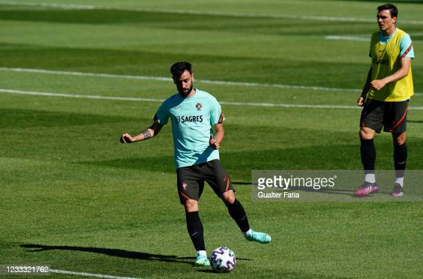 Bruno Fernandes of Portugal and Manchester United in action during the Portugal Training Session at Cidade do Futebol FPF on June 7, 2021 in Oeiras,...