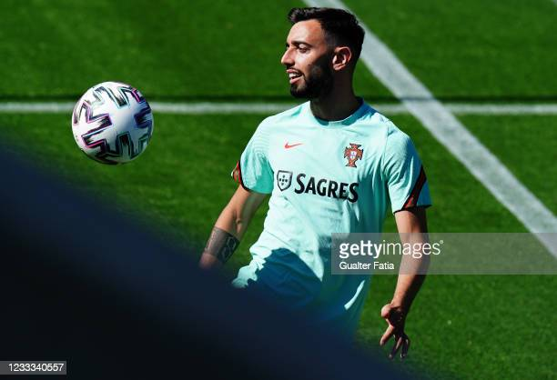 Bruno Fernandes of Portugal and Manchester United in action during the Portugal Training Session at Cidade do Futebol FPF on June 8, 2021 in Oeiras,...