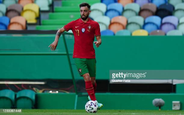 Bruno Fernandes of Portugal and Manchester United in action during the International Friendly match between Portugal and Israel at Estadio Jose...