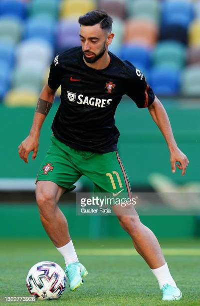 Bruno Fernandes of Portugal and Manchester United in action during warm up before the start of the International Friendly match between Portugal and...