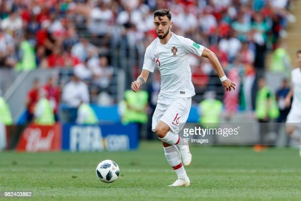 Bruno Fernandes of Portugal controls the ball during the 2018 FIFA World Cup Russia group B match between Portugal and Morocco at Luzhniki Stadium on...
