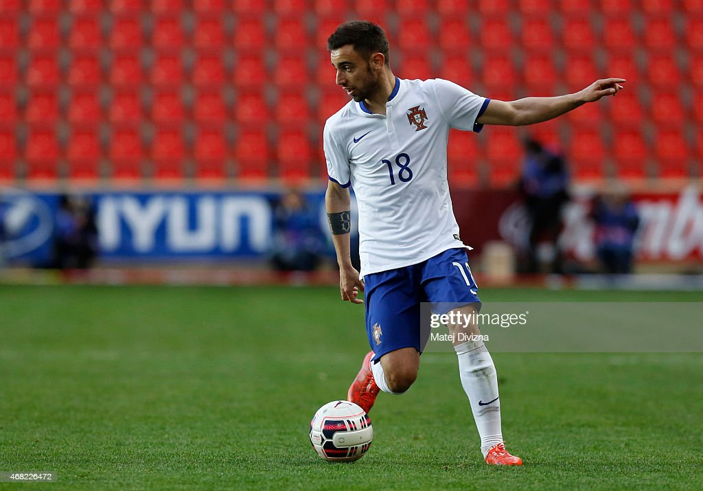 Bruno Fernandes of Portugal in action during the international friendly match between U21 Czech Republic and U21 Portugal at Eden Stadium on March 31, 2015 in Prague, Czech Republic.
