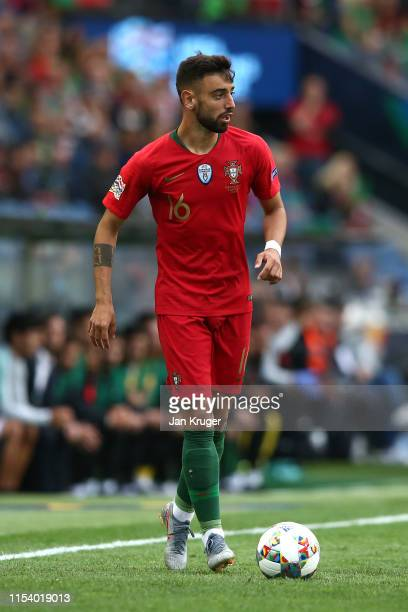 Bruno Fernandes of Portugal in action during the UEFA Nations League SemiFinal match between Portugal and Switzerland at Estadio do Dragao on June 05...