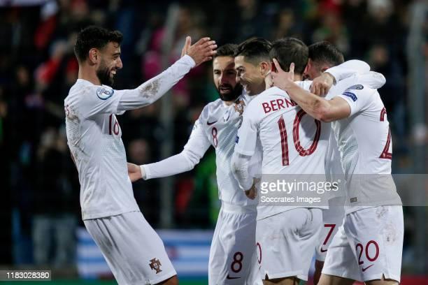 Bruno Fernandes of Portugal, Joao Moutinho of Portugal, Cristiano Ronaldo of Portugal, Bernardo Silva of Portugal, Diogo Jota of Portugal, celebrate...