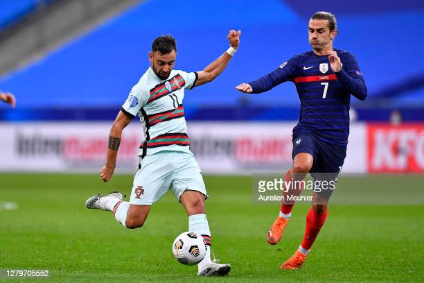 Bruno Fernandes of Portugal kicks the ball during the UEFA Nations League group stage match between France and Portugal at Stade de France on October...
