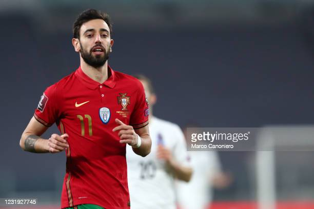 Bruno Fernandes of Portugal looks on during the FIFA World Cup 2022 Qualifiers match between Portugal and Azerbaijan. Portugal wins 1-0 over...