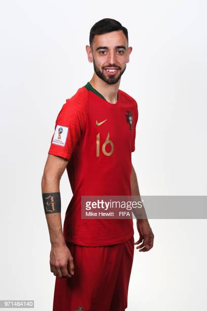 Bruno Fernandes of Portugal poses for a portrait during the official FIFA World Cup 2018 portrait session at the Saturn training base on June 10 2018...