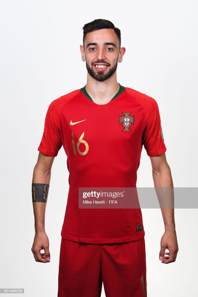 Bruno Fernandes of Portugal poses for a portrait during the official FIFA World Cup 2018 portrait session at the Saturn training base on June 10, 2018 in Moscow, Russia.