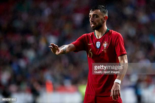 Bruno Fernandes of Portugal reacts during the friendly match of preparation for FIFA 2018 World Cup between Portugal and Algeria at the Estadio do...