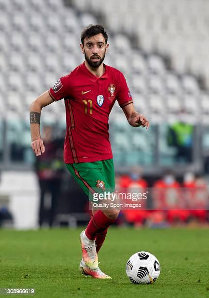 Bruno Fernandes of Portugal runs with the ball during the FIFA World Cup 2022 Qatar qualifying match between Portugal and Azerbaijan on March 24,...