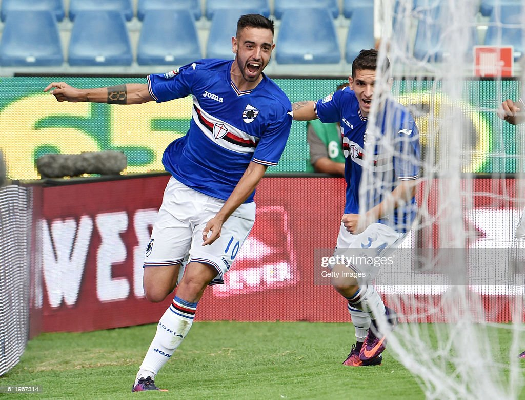 Bruno Fernandes of Sampdoria celebrates after scoring the equalizing goal during the Serie A match between UC Sampdoria and US Citta di Palermo at Stadio Luigi Ferraris on October 2, 2016 in Genoa, Italy.