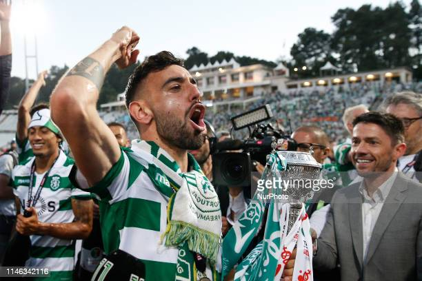 Bruno Fernandes of Sporting celebrates after winning the Portugal Cup Final football match between Sporting CP and FC Porto at Jamor stadium in...