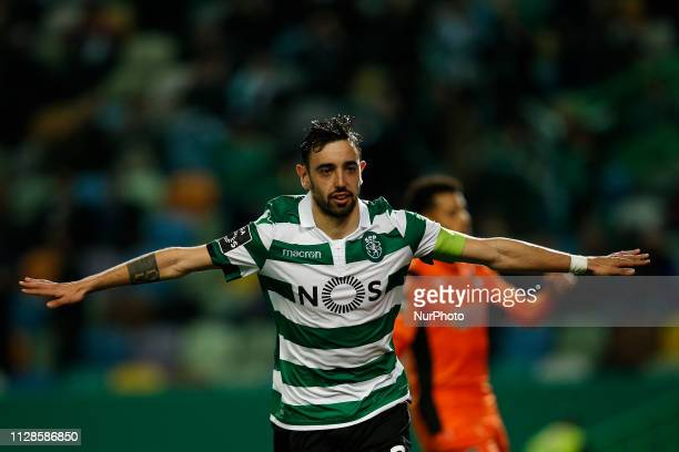 Bruno Fernandes of Sporting celebrates his goal during Primeira Liga 2018/19 match between Sporting CP vs Portimonense SC in Lisbon on March 3 2019