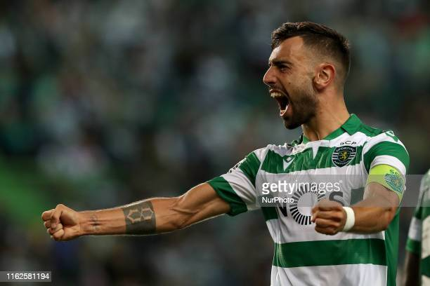 Bruno Fernandes of Sporting CP celebrates after scoring a goal during the Portuguese League football match between Sporting CP and SC Braga at the...