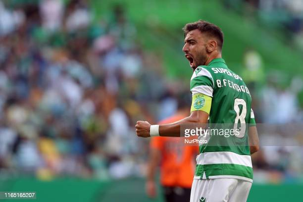Bruno Fernandes of Sporting CP celebrates after scoring a goal during the Portuguese League football match between Sporting CP and Rio Ave FC at the...